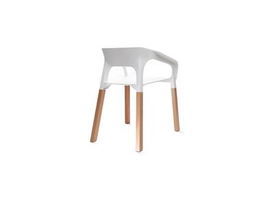 Lot de deux chaises design scandinave blanches HELIA