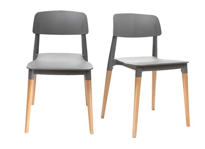 Lot de deux chaises design scandinave grises GILDA