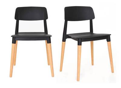 Lot de deux chaises design scandinave noires GILDA