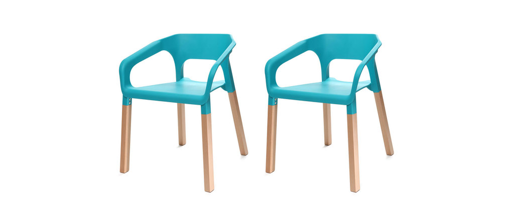 Lot de deux chaises design scandinave turquoises helia miliboo - Les plus belles chaises design ...