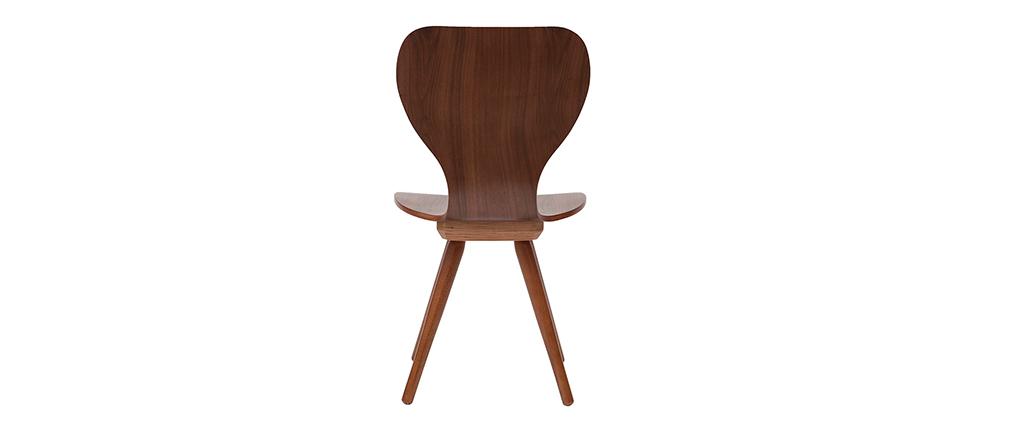 lot de deux chaises style scandinave en noyer naturel. Black Bedroom Furniture Sets. Home Design Ideas
