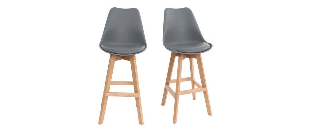 lot de deux tabourets de bar design gris et bois 65cm pauline miliboo. Black Bedroom Furniture Sets. Home Design Ideas