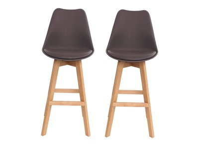Lot de deux tabourets de bar design marron et bois 75cm PAULINE