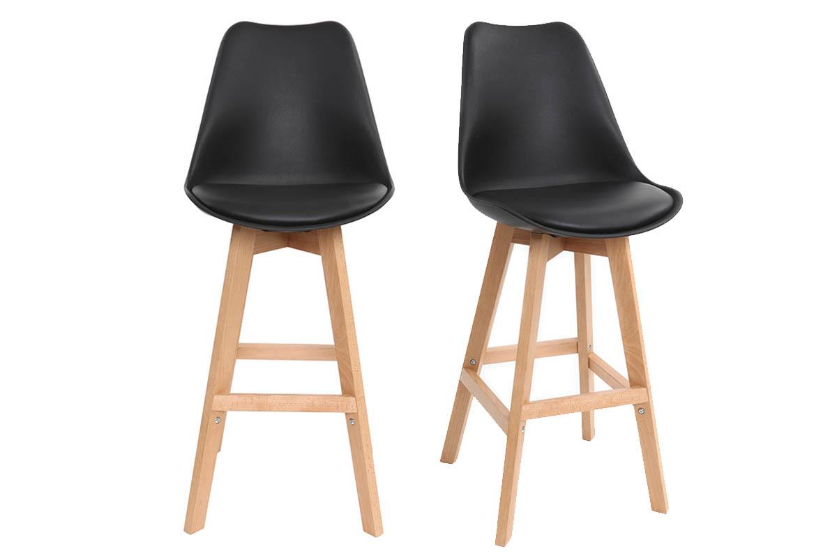 Lot de deux tabourets de bar design noir et bois 65cm for Chaise bois et noir
