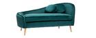 Méridienne en velours bleu canard L160 cm ICARE