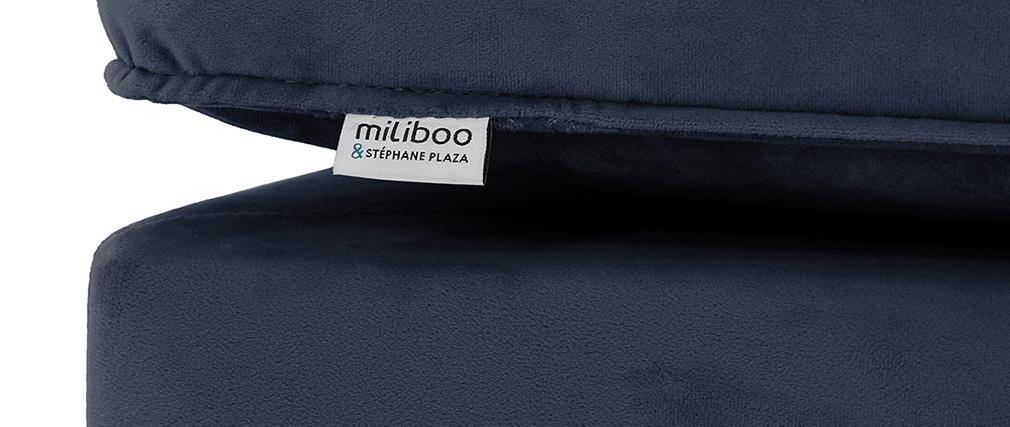 Méridienne en velours bleu COZY - Miliboo & Stéphane Plaza