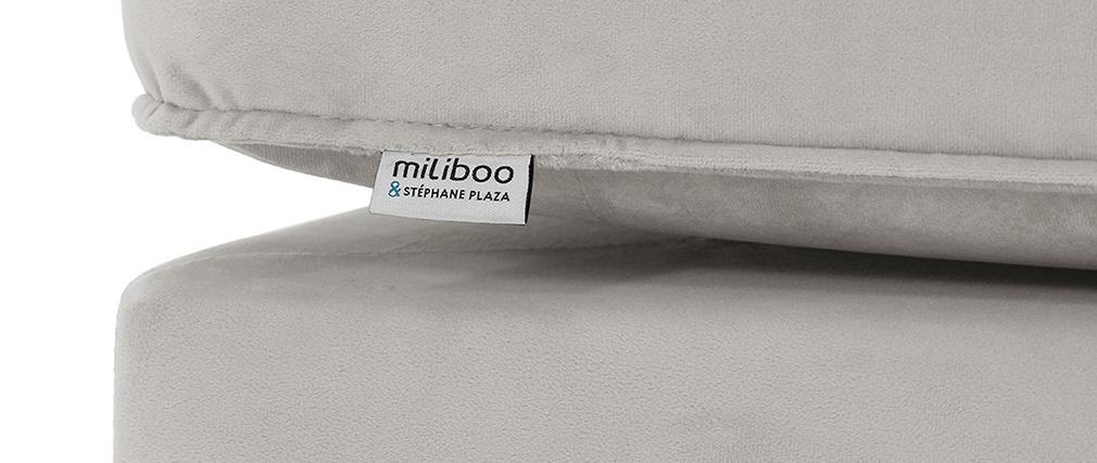Méridienne en velours gris clair COZY - Miliboo & Stéphane Plaza