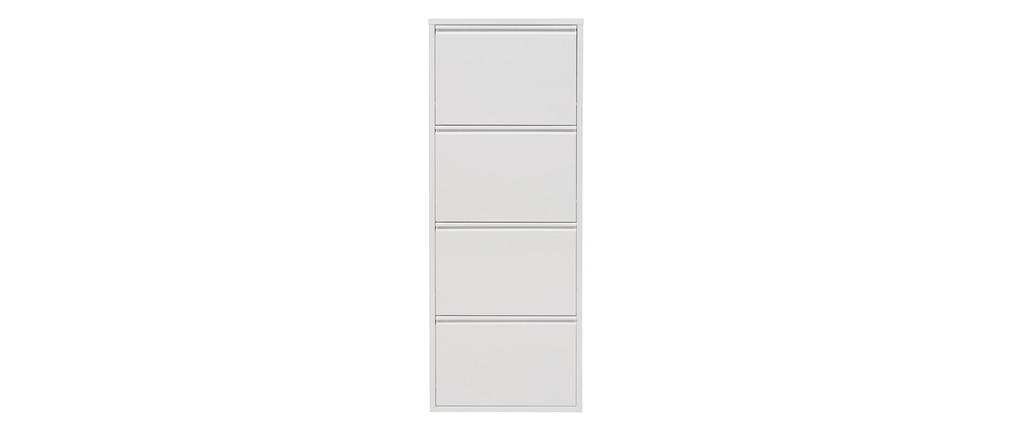 meuble chaussures design laqu blanc 4 abattants baros miliboo. Black Bedroom Furniture Sets. Home Design Ideas