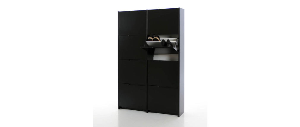 meuble chaussures design laqu noir mat mozaik miliboo. Black Bedroom Furniture Sets. Home Design Ideas