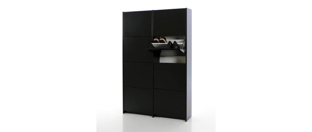 meuble chaussures design laqu noir mat mozaik miliboo. Black Bedroom Furniture Sets. Home Design Ideas
