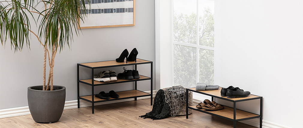 Meuble à chaussures industriel métal et bois TRESCA