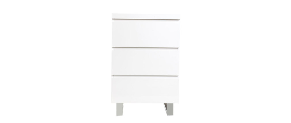 Meuble d 39 appoint blanc laqu juno miliboo for Meuble d angle laque blanc