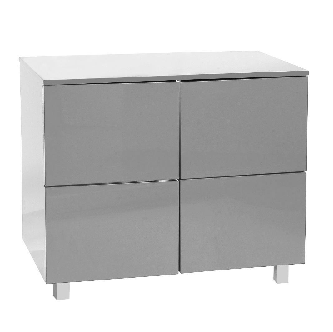Fabulous meuble de rangement blanc laqu portes new york for Meuble tv ovale