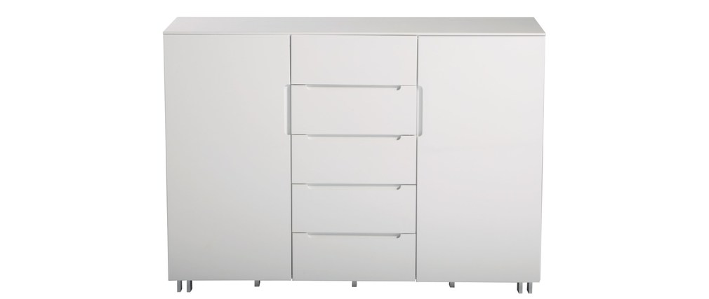 Meuble de rangement blanc new york 5 tiroirs et 2 portes for Meuble plusieurs tiroirs