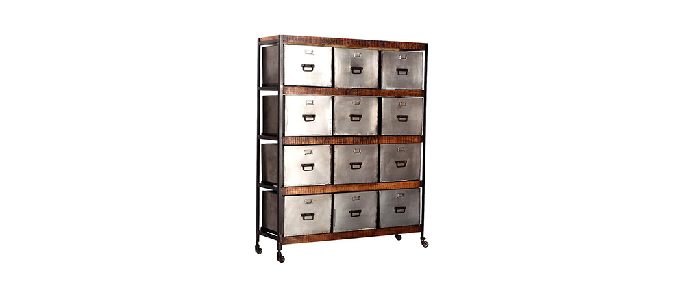 Meuble de rangement design 12 tiroirs loft miliboo - Meuble facilite de paiement ...