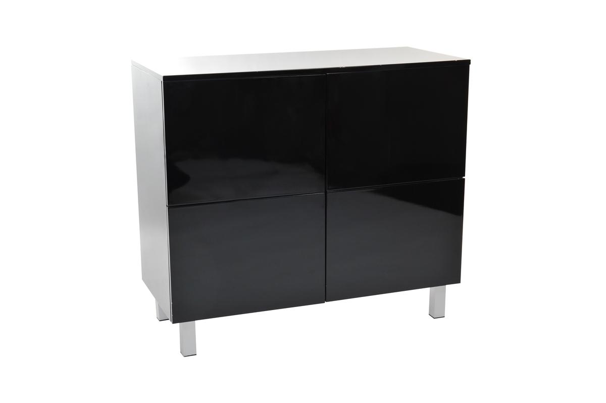 meuble de rangement noir laqu 233 4 portes new york miliboo