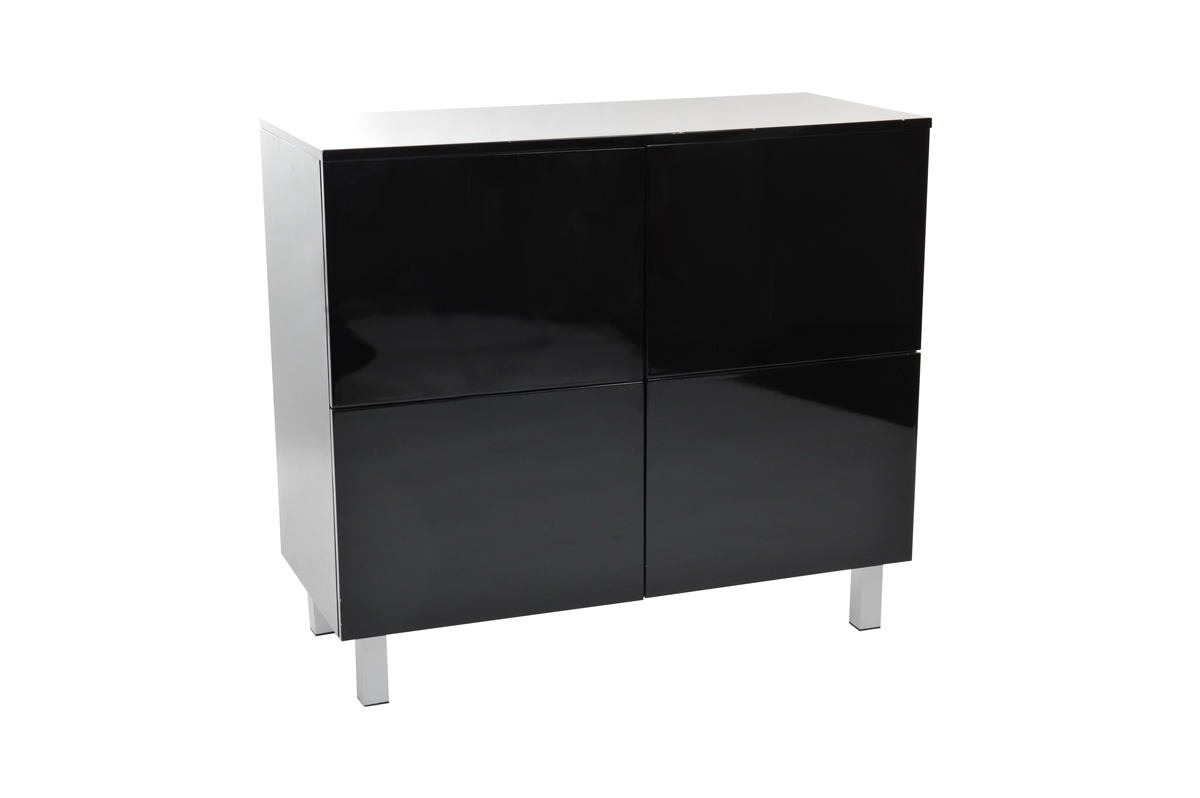 meuble de rangement noir laqu 4 portes new york miliboo. Black Bedroom Furniture Sets. Home Design Ideas
