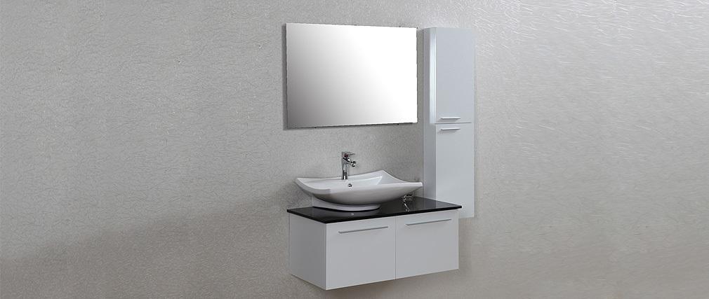 Meuble de salle de bain design laqu blanc mat meuble for Colonne de salle de bain noir laque