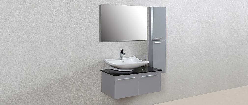 Meuble de salle de bain design laqu gris mat meuble - Vasque salle de bain design ...