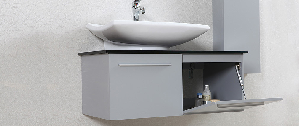 Meuble de salle de bain design laqu gris mat meuble - Meuble sous vasque arrondi ...
