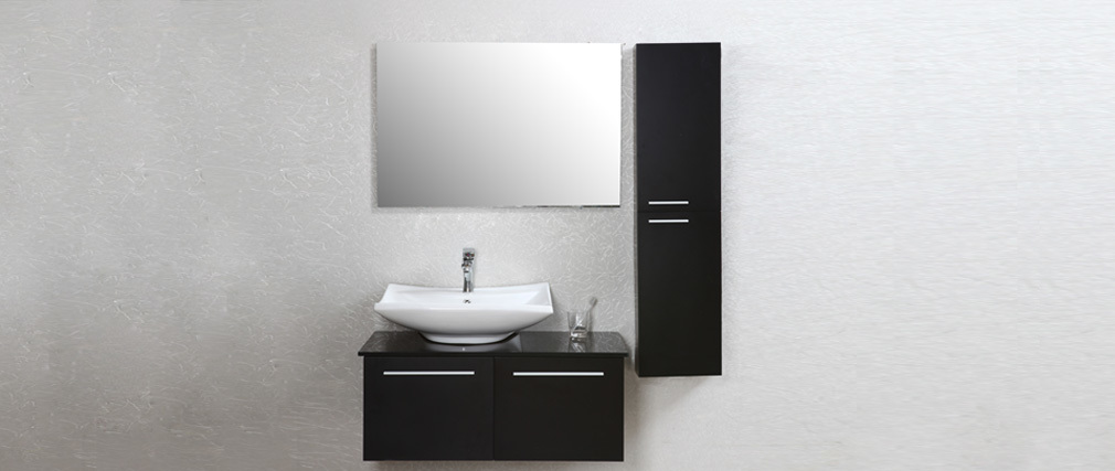 Meuble de salle de bain design laqu noir mat meuble sous vasque vasque c - Meuble vasque salle de bain design ...