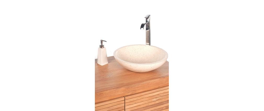 Salle De Bain Blanc Teck : Meuble de salle de bain double vasques blanc en teck ANO, aspect ...