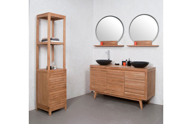 meuble de salle de bain double vasques noir en teck ano miliboo. Black Bedroom Furniture Sets. Home Design Ideas