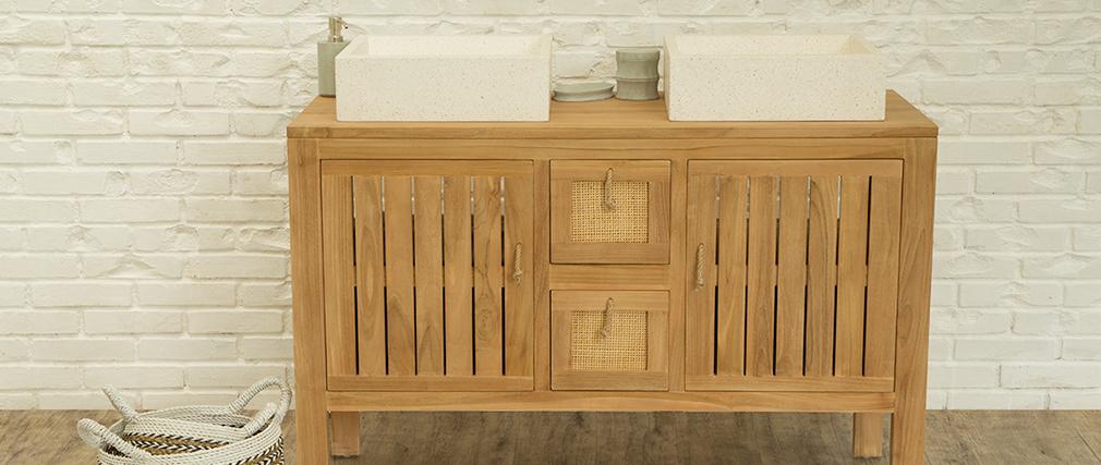 Meuble de salle de bain en teck pour double vasque ARECA