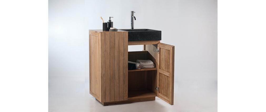 Meuble de salle de bain meuble sous vasque en teck et for Meuble de salle de bain sous vasque