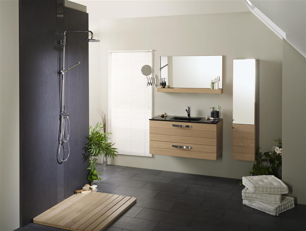 meuble de salle de bain meuble sous vasque tablette verre et miroir alma miliboo. Black Bedroom Furniture Sets. Home Design Ideas