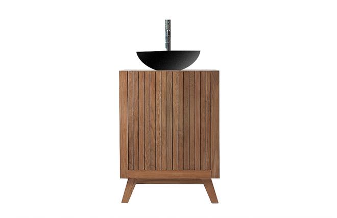 Meuble de salle de bain meuble sous vasque teck et for Creer son meuble de salle de bain