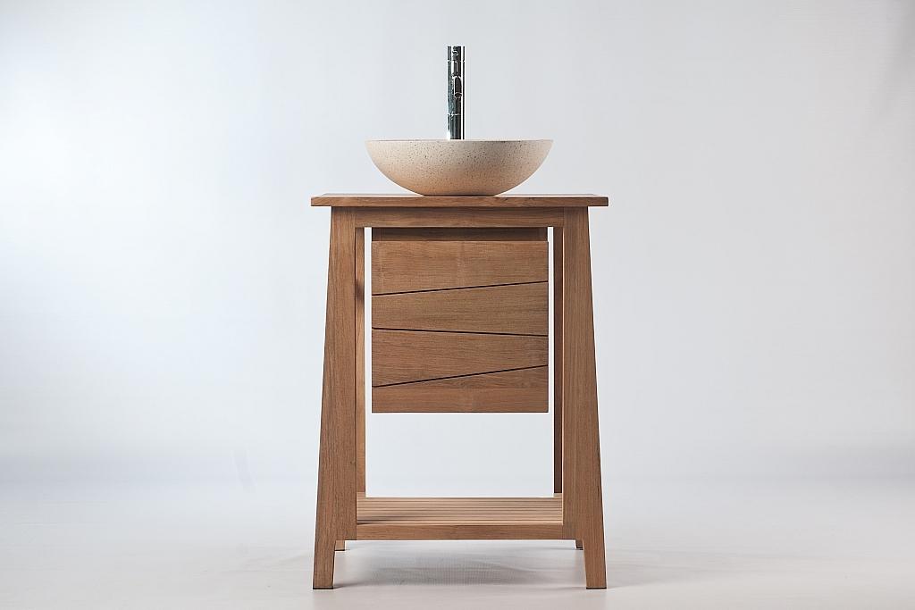 meuble de salle de bain meuble sous vasque teck et vasque terazzo alioh miliboo. Black Bedroom Furniture Sets. Home Design Ideas