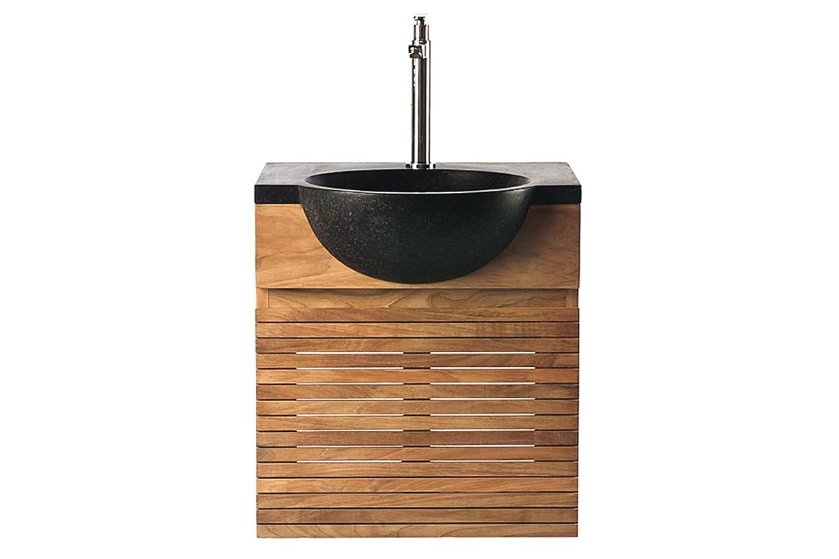 Meuble de salle de bain  meuble sous vasque teck et vasque terazzo ISAK  Mi