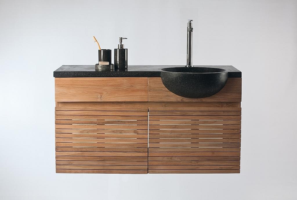 Meuble de salle de bain : meuble sous vasque teck et vasque terazzo ISAK BIG