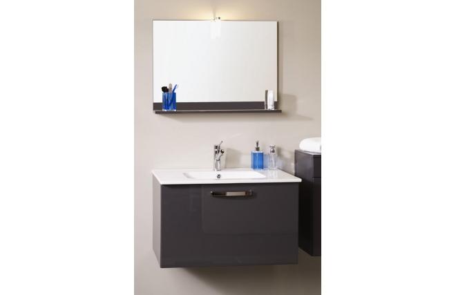 Meuble de salle de bain meuble sous vasque vasque miroir for Meuble salle de bain gris laque