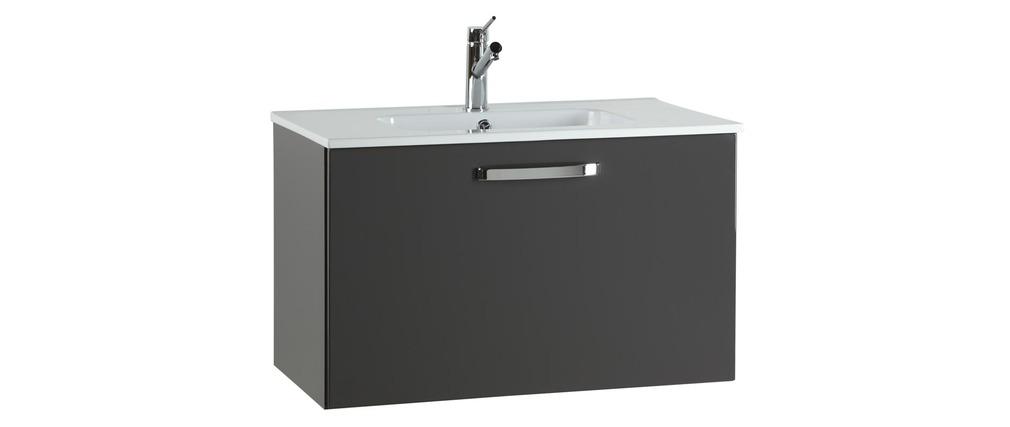 meuble de salle de bain meuble sous vasque vasque miroir laqu gris lean miliboo. Black Bedroom Furniture Sets. Home Design Ideas