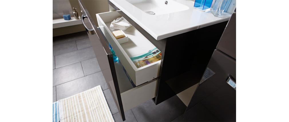 Meuble de salle de bain meuble sous vasque vasque miroir laqu gris lean - Meuble sous vasque gris ...