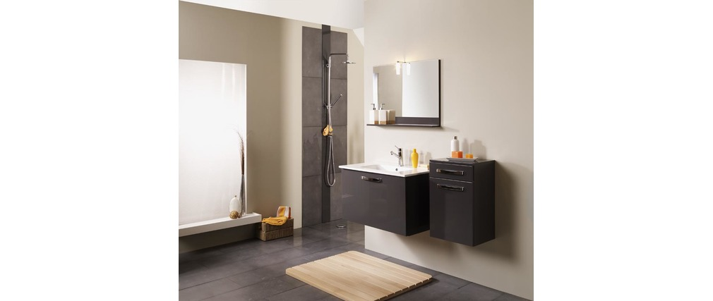 meuble de salle de bain meuble sous vasque vasque miroir laqu gris lean miliboo. Black Bedroom Furniture Sets. Home Design Ideas