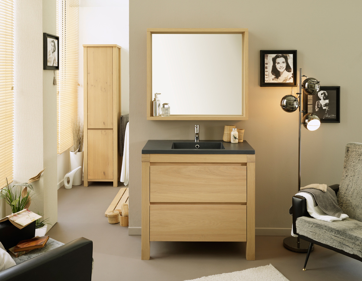 meuble de salle de bain sous vasque et miroir loan miliboo. Black Bedroom Furniture Sets. Home Design Ideas
