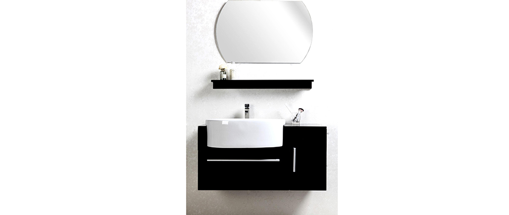 meuble de salle de bain sullivan noir vasque meuble sous vasque tag re et miroir miliboo. Black Bedroom Furniture Sets. Home Design Ideas