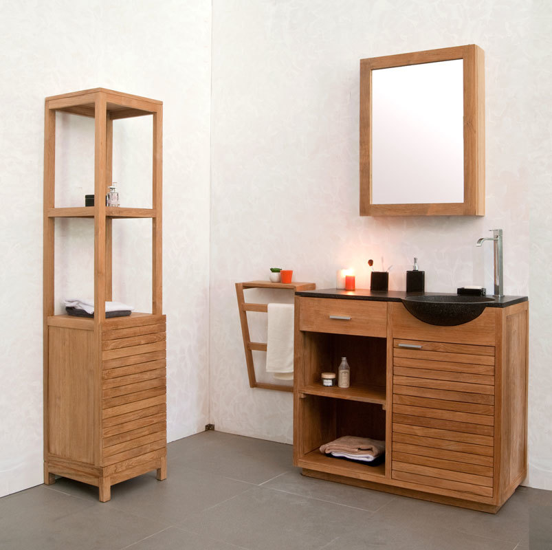 meuble de salle de bain une vasque en teck akio miliboo. Black Bedroom Furniture Sets. Home Design Ideas