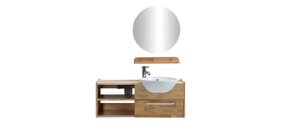 Meuble de salle de bain : vasque, meuble sous-vasque, étagère et miroir EYTAN