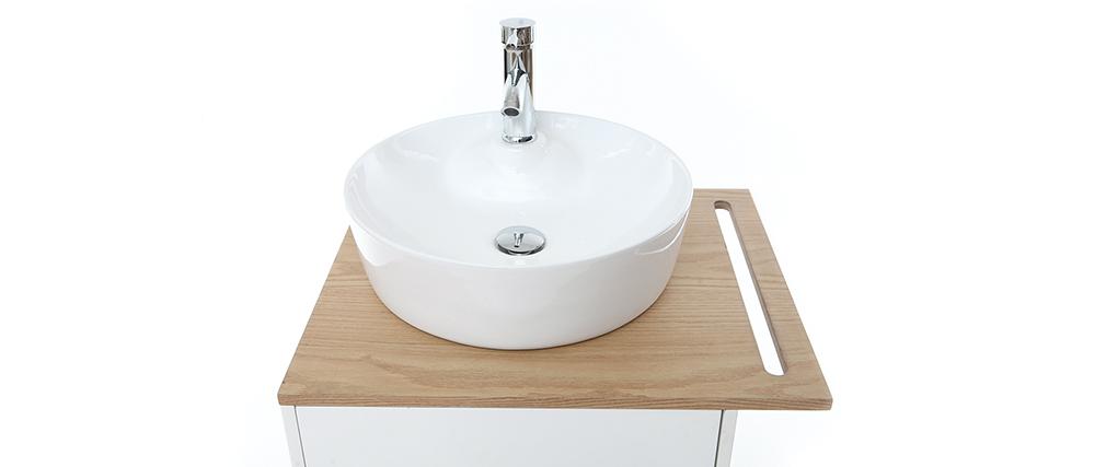 Meuble de salle de bain : vasque, meuble sous vasque une porte chêne et blanc et miroir TOTEM