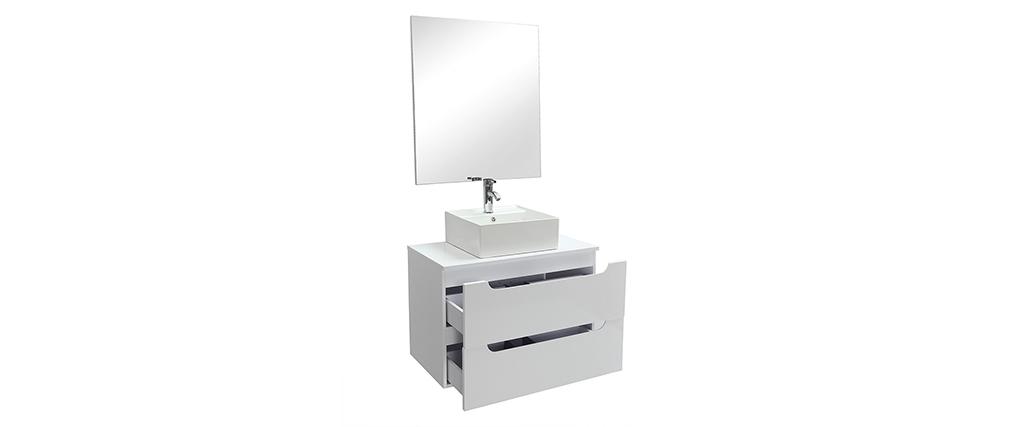 Meuble de salle de bains avec miroir et rangements blanc (sans vasque) LOTA