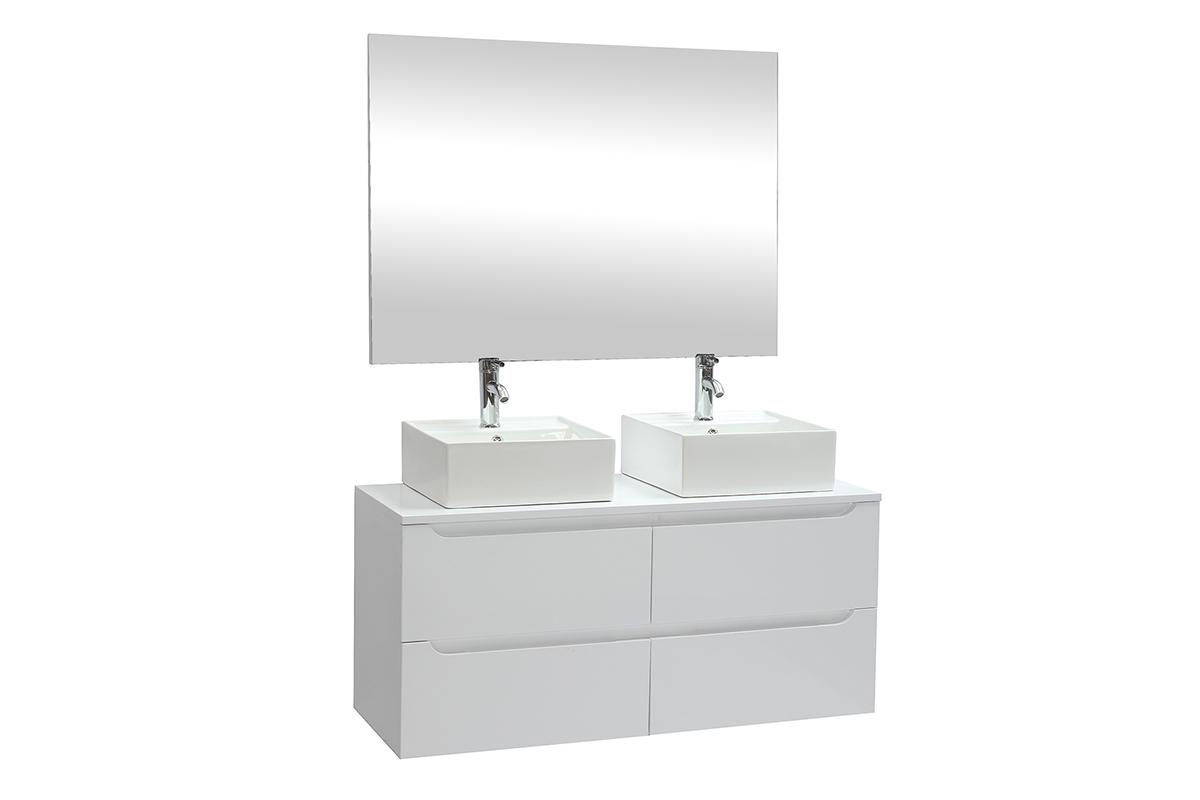 Espace Entre 2 Vasques meuble de salle de bains avec miroir et rangements blanc