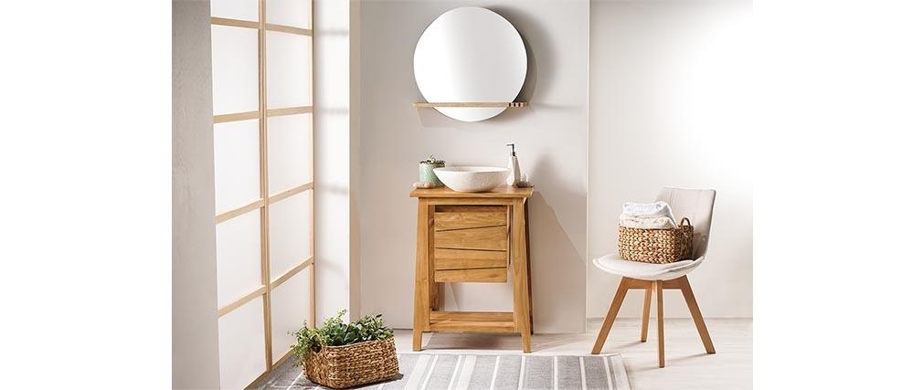 Meuble de salle de bains avec rangement en teck (sans vasque) ALIOH