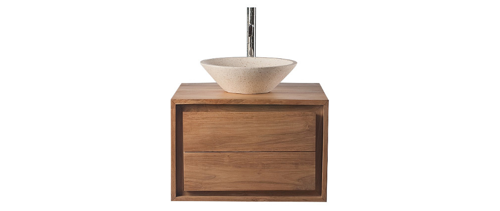 Meuble de salle de bains avec rangement en teck (sans vasque) PEKKA