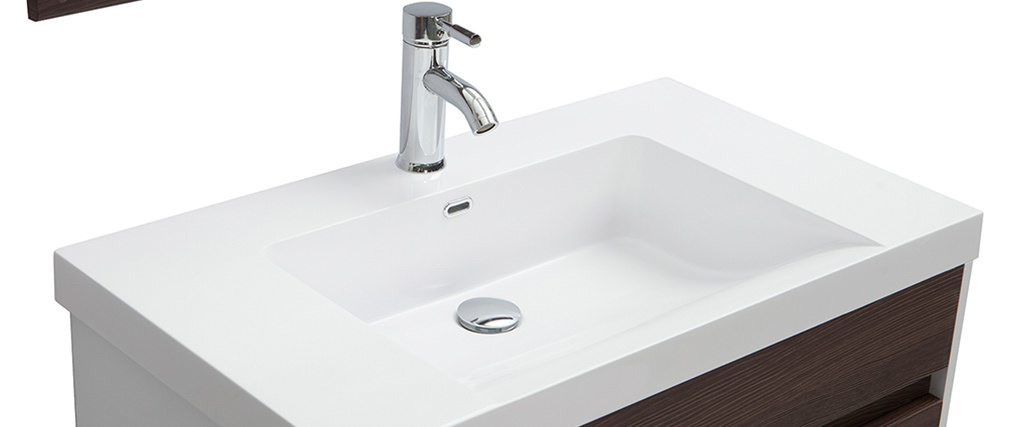 Meuble de salle de bains avec vasque miroir et rangements blanc et bois fonc ganfo miliboo - Meuble bois fonce ...
