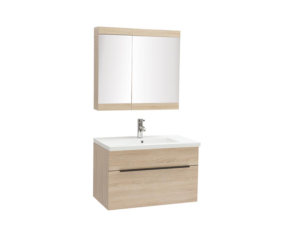 Meuble de salle de bains avec vasque, miroir et rangements ...
