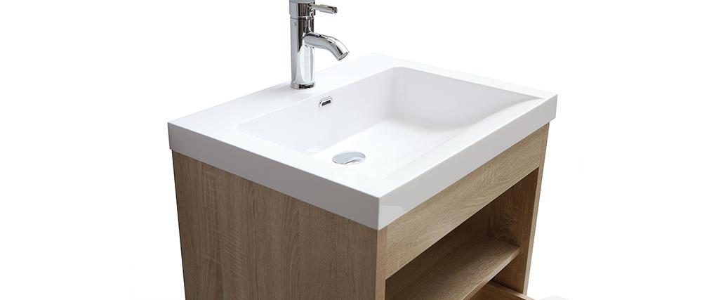 Meuble de salle de bains suspendu avec vasque, miroir et rangement bois RIVER